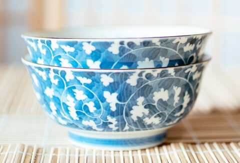 Blue and white Japanese flower bowls
