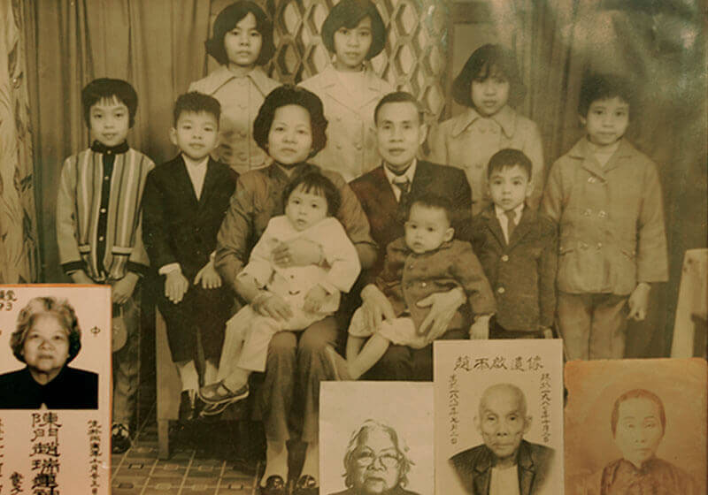 Mr Chan's family photo from Hong Kong (Small ID size photos are his grand and great grandparents)