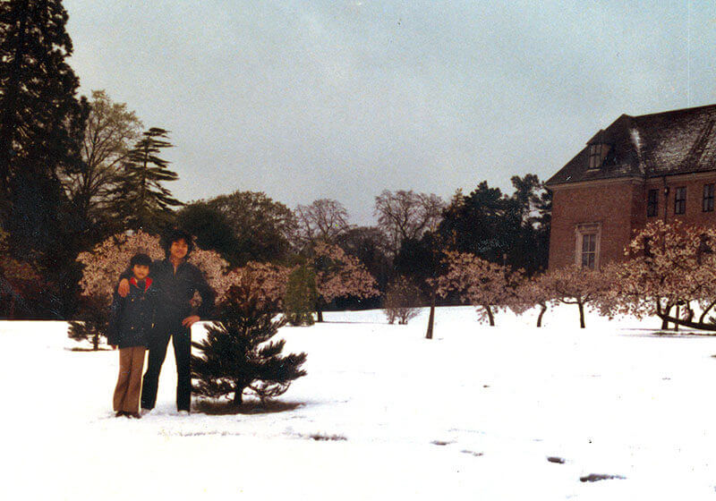Mr Chan's first snowy winter, Exeter, 1981