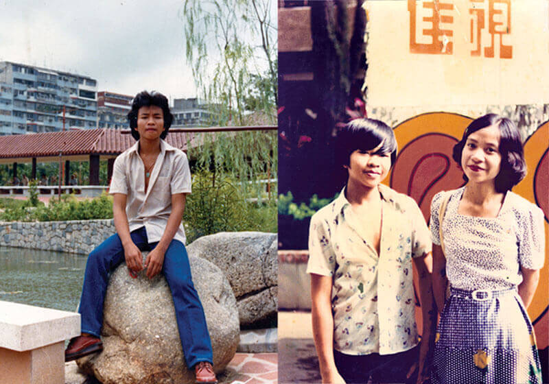 Left: Mr Chan in his teens, the day before his departure to the UK, Hong Kong, 1981 Right: Mr Chan with his sister in front of a Hong Kong TV station, Hong Kong, 1973