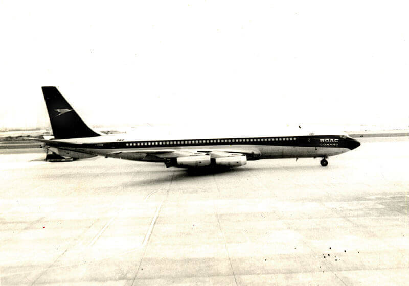 The plane Mrs. Lee took to the UK (BOAC) 1966