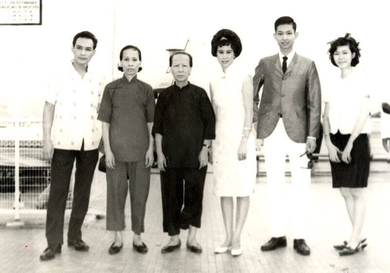 Family photo before boarding the plane. 1966