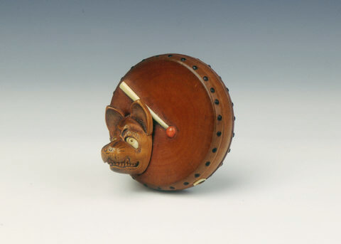 Drum and fox's mask netsuke. Japan, 19th century